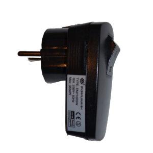 Kopp Stecker mit Wippschalter schwarz