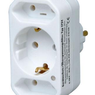 Kopp Steckdosen Mehrfachadapter - 3fach mit Überspannungsschutz weiß