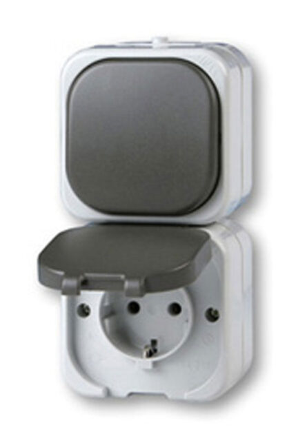AquaTop Aus-/Wechselschalter + Steckdose AP IP 44
