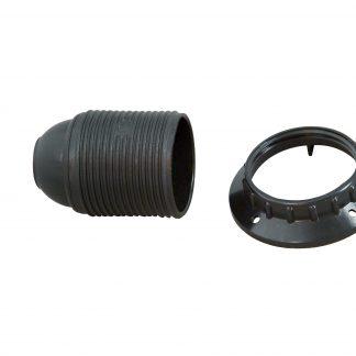 Kopp Isolierstoff-Fassung mit Außengewindemantel, E27, schwarz