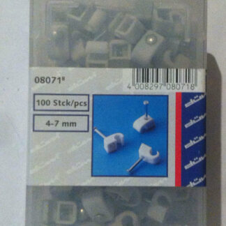 100 x Düwi / REV Iso Nagelschellen kabelschellen 4 -7 mm mit stahlnadel grau