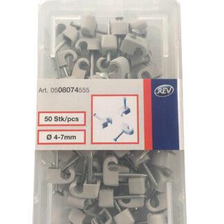 Düwi / REV Iso Nagelschellen Kabelschellen 4 -7 mm mit Stahlnadel grau 50 Stück