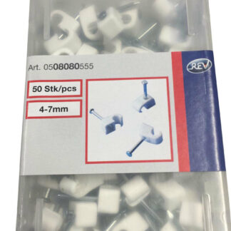 50 x Düwi / REV Iso Nagelschellen kabelschellen 4 -7 mm weiss