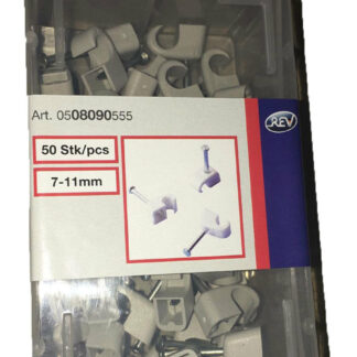 50 x Düwi REV Iso Nagelschellen kabelschellen Ø 7-11 mm 25mm Nägel grau