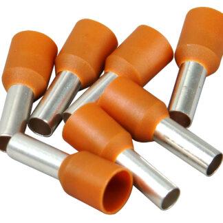 Kopp Ader Endhülsen mit Kunststoffkragen, 10mm², 25 Stück, braun