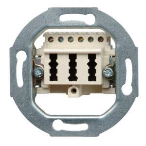 Kopp Telefonanschlussdose TAE, 1 Amtsleitung und 2 Zusatzgeräte, 3×6-polig, NFN-Codierung