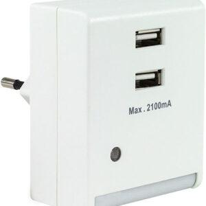 REV LED Nachtlicht mit integriertem USB 2.0 Ladegerät + Dämmerungsautomatik