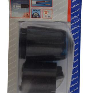 Düwi Isolierstoff Fassung E27 mit Zugschalter und glatten Mantel , schwarz