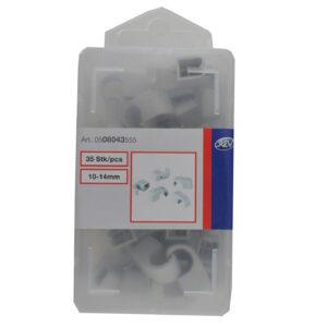 REV Nagelschelle, Kabelschellen , 35 Stück, 10-14 mm, grau