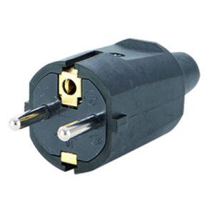 REV Schutzkontakt Stecker schwarz Knickschutz für Kabel bis 3 x 1,5mm²