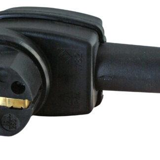 Kopp Schutzkontakt-Vollgummi-Winkelstecker, schwere Ausführung, für Kabel 3×2,5mm², schwarz