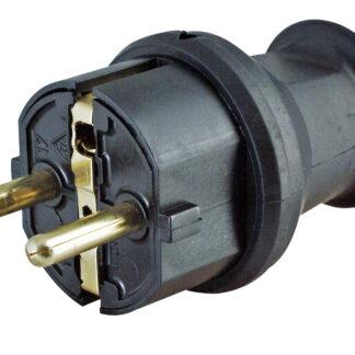 Kopp Schutzkontakt Stecker Ip44 schwarz Knickschutz für Kabel bis 3 x 1,5mm²