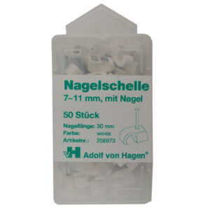 AVH Nagelschellen iso Schellen ,Stahlnagel7-11mm , 50 Stück, weiß