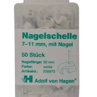 AVH Nagelschellen iso Schellen ,Stahlnagel Nagel Schellen 7-11mm , 50 Stück weiß
