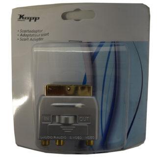 Kopp Scart Stecker auf 3x Chinch Buchse S-Video Adapter , silber