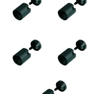 Düwi Isolierstoff Fassung E27 mit glatten Mantel , schwarz ( 5 Stück )