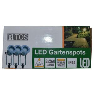 REV Ritter RITOS LEDs Garden Gartenspot mit Erdspieß Set, 3 Stück silber