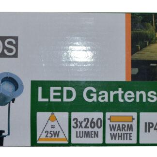 REV Ritter RITOS LEDs Garden Gartenspot mit Erdspieß Set, 3 Stück silber 0087411712