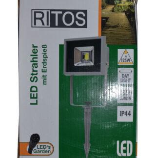 REV Ritter RITOS LED Strahler LEDs Garden LED Flutlicht mit Erdspieß 20W grau