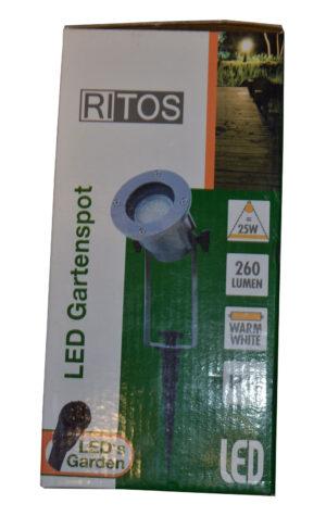 REV Ritter RITOS LEDs Garden Gartenspot mit Erdspieß , silber