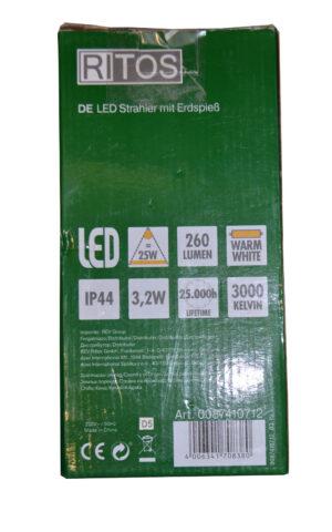 0087410712 REV Ritter RITOS LEDs Garden Gartenspot mit Erdspieß , silber