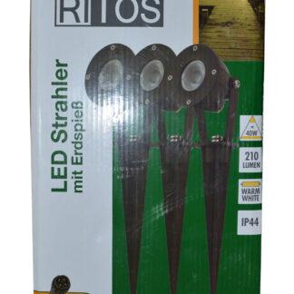 REV Ritter RITOS LEDs Garden Gartenspot mit Erdspieß Set, 3 Stück schwarz