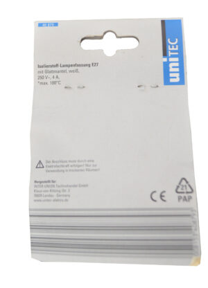 40879 Inter-Union Isolierstoff-Fassung mit glatten Mantel , E27, weiß