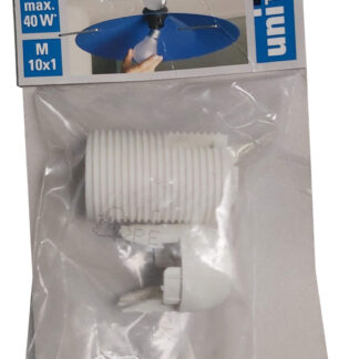 Unitec Isolierstoff-Fassung mit Außengewindemantel, E14, weiß