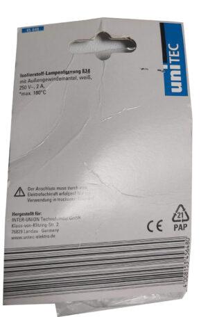 45648 Unitec Isolierstoff-Fassung mit Außengewindemantel, E14, weiß