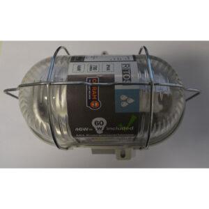 REV Kellerlampe Ovalarmatur , Fassung E27, inklusive Osram Sparlampe Metall 46W