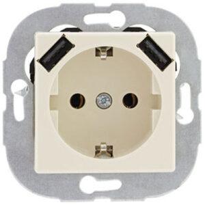 Düwi REV Standard Quadro, cremeweiß, Schutzkontaktsteckdose mit USB-Modul