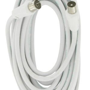 Elro Antennen Anschlusskabel Koaxial 100Hz, 5m , 75dB , weiß