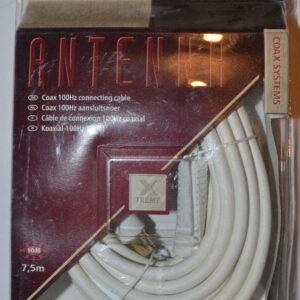 Elro Antennen Anschlusskabel Koaxial 100Hz, 7,5m , Gold , weiß