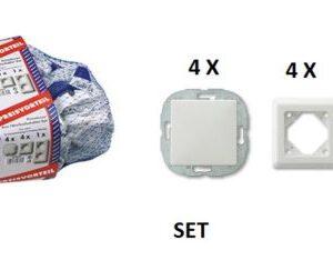 REV Primaluxe Aus Wechselschalter Set weiß 4 Schalter + 5 Rahmen