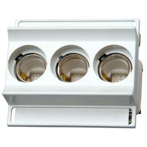 Kopp Sicherungssockel D02, 3-polig mit Schnappbefestigung und Abdeckung für Sicherungen