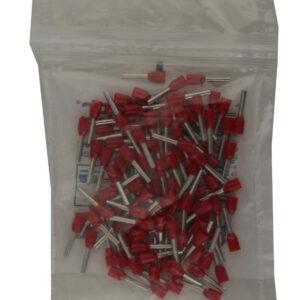 Unitec Aderendhülsen mit Kunststoffkragen, 1,0mm², 100 Stück, rot