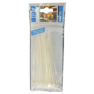 Unitec Kabelbinder 150 x 2,5 mm , weiß, 50 Stück