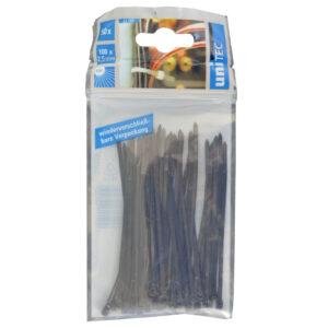 Unitec Kabelbinder 100 x 2,5 mm , schwarz , 50 Stück