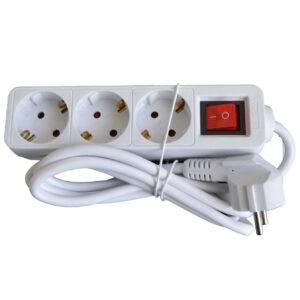 UNITEC Steckdosenleiste 3-Fach mit Schalter, 1.4 m, weiß