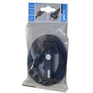 Unitec Euro Zuleitung mit Schnurschalter 2m ,H03VVH2-F 0,75mm² schwarz