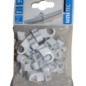 Unitec Nagelschellen 10 - 14 mm , weiß , 25 Stück