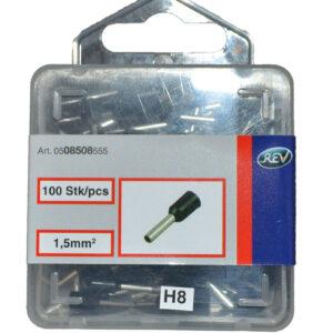 REV Ader Endhülsen mit Kunststoffkragen, 1,5mm², 100 Stück, schwarz