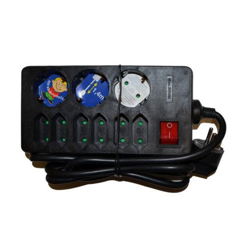 REV Steckdosenleiste 3+6-fach, mit Schalter, 1,4 m Zuleitung, schwarz