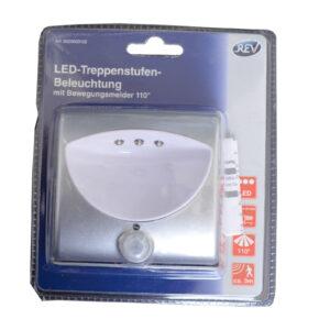 REV LED Treppenstufenbeleuchtung mit Bewegungsmelder, silber