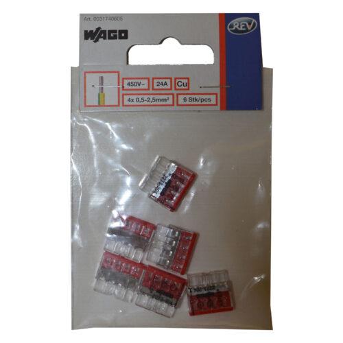 WAGO Compact Verbindungsklemme, 4x 0,5-2,5mm , 6 Stück