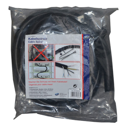 REV SpiralKabelschlauch Kabelschutz Kabelbündler Kabelmanager 2,5 m Ø25 mm