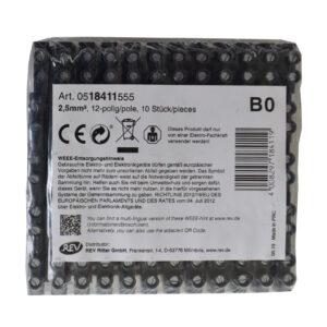 REV Ritter Lüsterklemmen 0,5 - 2,5 mm², 12polig, schwarz, 10 Stück