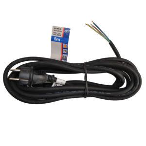 Schutzkontakt Zuleitungen Gummi H05RR-F3G1,5 mm² , schwarz , 5 m