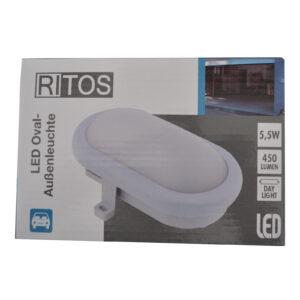 Ritos LED Ovalaußenleuchte , Armaturleuchte , 5,5 W , weiß
